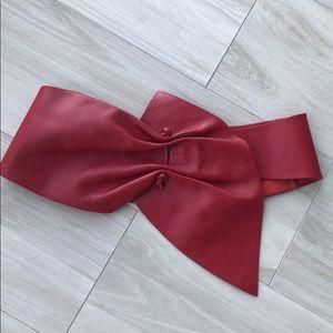 Red leather waist belt